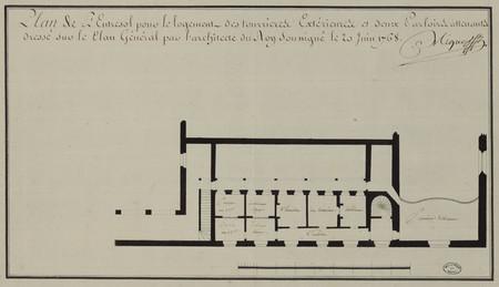 Plan de l'entresol pour le logement des tourrières extérieurs et deux parl…
