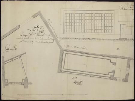 Plan, coupe et élévation d'une serre chaude à construire dans le jardin bo…