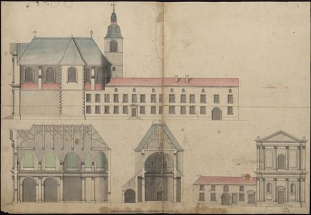 Coupe et élévation des bâtiments du temple protestant de Nancy, ancienne é…