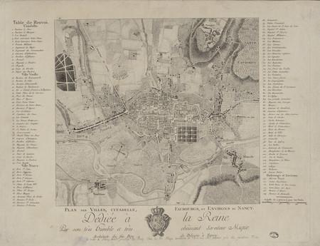 Plan des villes, citadelle, faubourgs, et environs de Nancy. Dédiée à la R…