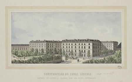 Construction du cours Léopold : entrée du cours, façade sur les rues latér…