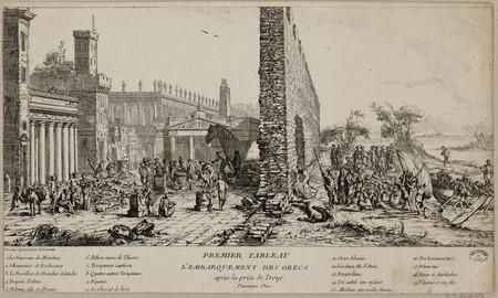 Premier tableau. L'embarquement des grecs après la prise de Troye