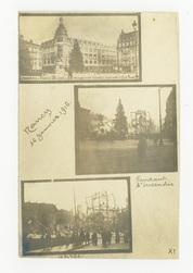 Nancy 16 Janvier 1916 : Nancy. Place Thiers. Les magasins Réunis incendiés…