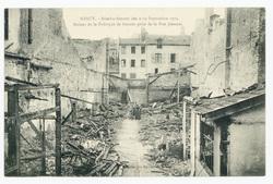 Ruines de la fabrique de brosses prise de la rue Jeannot, Nancy. - Bombard…