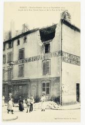 Angle de la rue Notre-Dame et de la rue de la Hache, Nancy. Bombardement d…