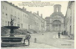 Badonviller. Rue Gambetta après l'invasion. La croix indique l'emplacement…