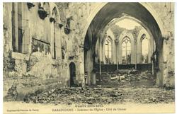 Haraucourt. Intérieur de l'Église. Côté du Chœur, Guerre 1914-1915