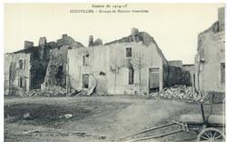 Hudiviller. Groupe de Maisons incendiées, Guerre de 1914-1915