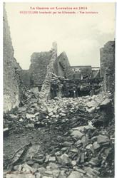 Hudiviller bombardé par les Allemands. Vue intérieure, la Guerre en Lorrai…