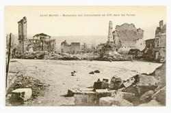 Saint-Mihiel : monument des Combattants de 1870 dans les Ruines