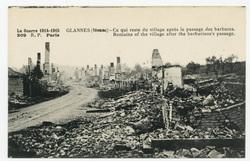 Glannes (Meuse) : ce qui reste du village après le passage des barbares. R…