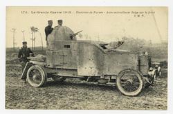 Environs de Furnes : auto-mitrailleuse Belge sur le front, la Grande Guerr…