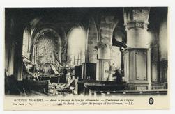 Après le passage de troupes allemandes. L'intérieur de l'Église… de Barcy.…