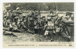 Infanterie anglaise abritée derrière un mur. British infantery under shelt…