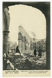 Pervyse : ce qui reste de la magnifique église. Rimains of the splendid ch…