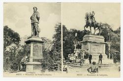 Metz : monument de Frédéric-Charles, avant, monument de Lafayette (après)