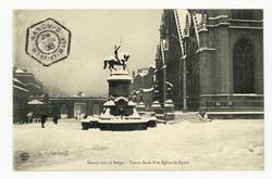 Nancy sous la neige. Statue René II et Église Saint-Epvre
