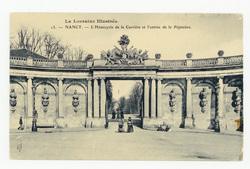 Nancy : l'Hémicycle de la Carrière et l'entrée de la Pépinière, la Lorrain…