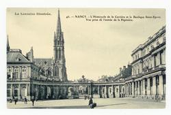 Nancy : l'Hémicycle de la Carrière et la Basilique Saint-Epvre, vue prise …