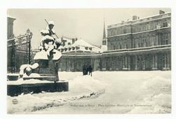 Nancy sous la Neige : place Carrière, hémicycle du gouvernement