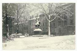 Nancy sous la neige : statue de Jeanne d'Arc