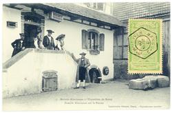 Famille alsacienne sur le perron : maisons alsaciennes à l'exposition de N…
