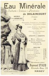 Eau minérale sulfurée, sodique, arsenicale de Dolaincourt (Vosges)
