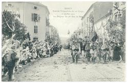 Le drapeau du 26e rue de Metz. Nancy : rentrée triomphale du 20e corps, 27…