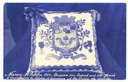 Nancy 12 octobre 1919 : coussin sur lequel ont été fixés l'insigne de la L…