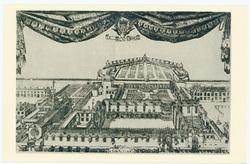 Vue cavalière du Palais ducal extraite du Triomphe de Charles IV (1664). N…