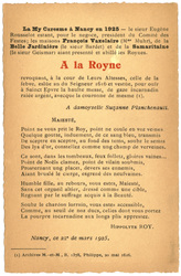 A la Royne : la my caresme à Nancy en 1925