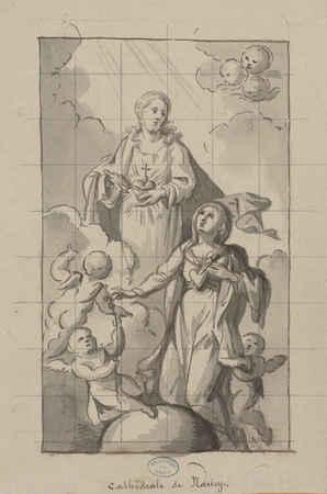 Cathédrale de Nancy : représentation du Christ et de Marie entourés de 3 a…