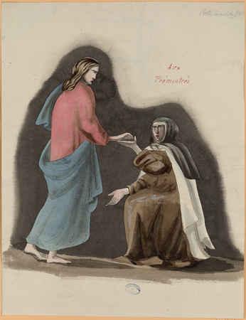 Une carmélite agenouillée devant le Christ : aux prémontrés