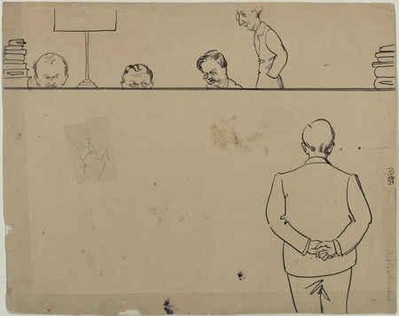Dessin humoristique de la banque de prêt fait par un lecteur  vers 1928-19…