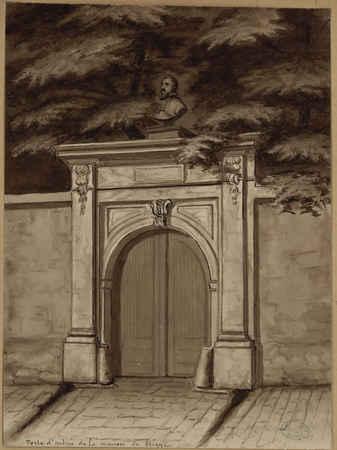 Porte d'entrée de la maison de brique