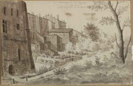 Vue de derrière de la porte Saint-Nicolas prise du jardin de la maison de …