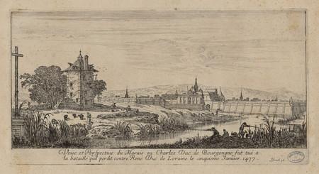 Veüe et perspective du marais ou Charles Duc de Bourgogne fut tué à la bat…