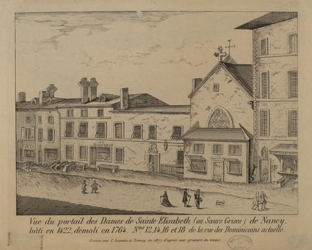 Vue du portail des Dames de Sainte Élisabeth (ou Sœurs Grises) de Nancy, b…