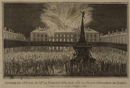 Incendie de l'Hotel de M[onsieu]r le Marquis d'Alsace sur la Place d'Allia…