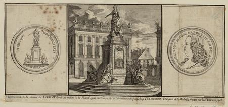 Vue orientale de la Statue de Louis XV. Élevée au milieu de la Place Royal…