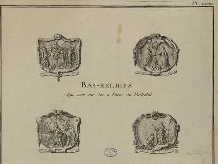 Bas-relief [de la statue de Louis XV] qui sont sur les 4 faces du piedestal