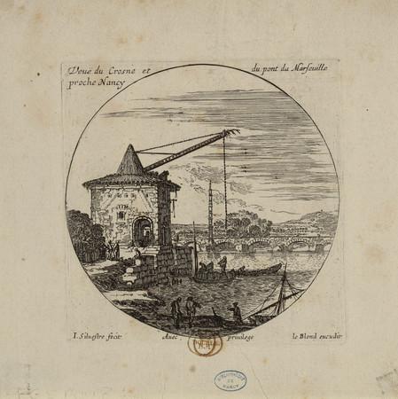 Veuë du Crosne et du pont de Marseuille proche de Nancy