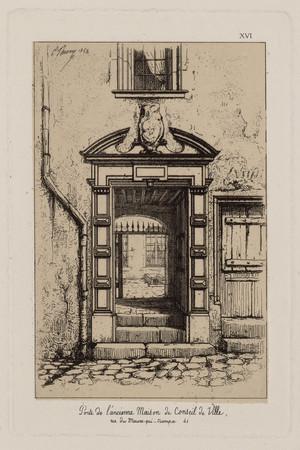 Porte de l'ancienne maison du Conseil de la ville, rue du Maure-qui-trompe…
