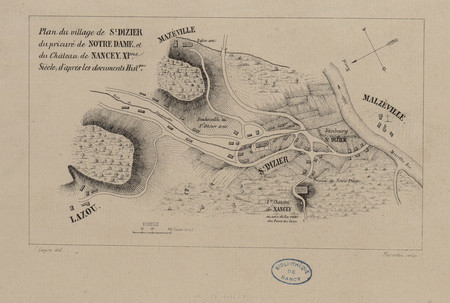 Plan du village de S[ain]t Dizier, du prieuré de Notre-Dame et du Château …