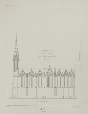 Construction d'une chapelle pour les Missionnaires Oblats à Nancy. Face lo…