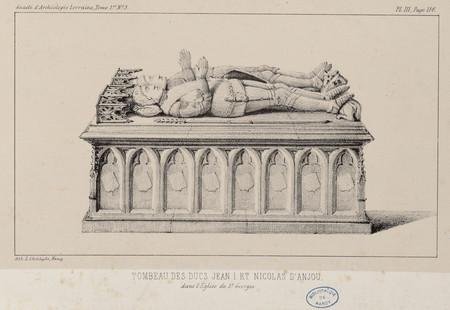 Tombeau des ducs Jean I et Nicolas d'Anjou dans l'église de S[ain]t Georges