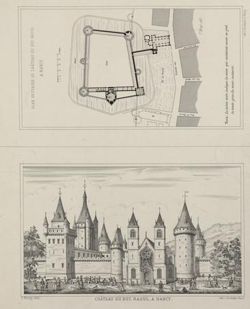 Château du Duc Raoul à Nancy. Plan restauré du château du duc Raoul à Nancy