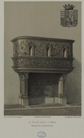 Le Palais Ducal à Nancy. Cheminée dans la galerie des cerfs.