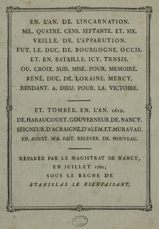 Transcription du texte écrit sur la Croix de Bourgogne