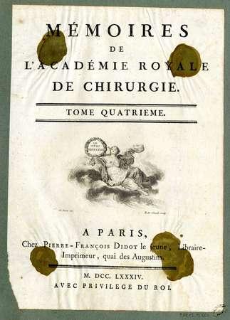 Page de titre de Mémoires de l'académie royale de chirurgie